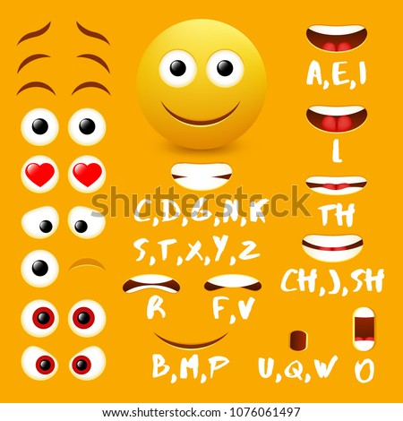Male emoji mouth animation vector design elements. Lip sync mouth shapes for animation and eyes, eyebrows for cool smiley creation.