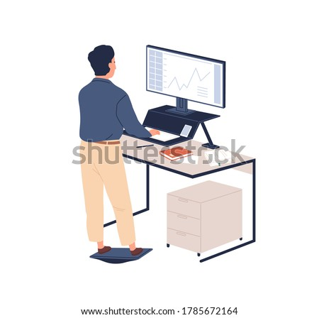 Male employee behind ergonomic furniture working on computer vector flat illustration. Man standing on footrest looking to monitor at contemporary workstation isolated. Staff at modern regulate table Foto stock ©