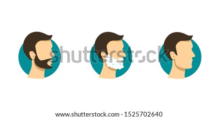 Male face with beard, foam, and aftershave. Vector icons in flat style. Shaving effect.