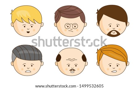 Male Faces Showing Different Emotions Set, Face Expressions of Man Vector Illustration