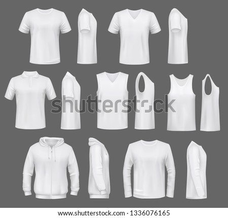 Male fashion, t-shirt templates with hoodie and sweatshirt, polo and singlet or sleeveless shirt. Vector basic clothes white mockups, casual garments. Men outfit henleys and tank top items, underwear