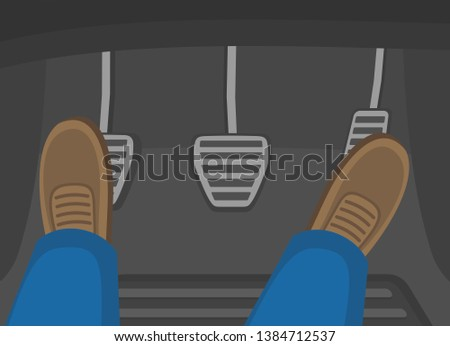 Male feet presses the car pedals. Gas, clutch and brake. Flat vector illustration.