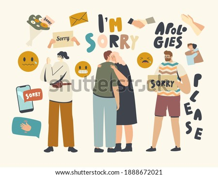 Male Female Characters Apologize. People Say Sorry, Hugging Each Other and Ask to Forgive for Mistake or Offensive Words. Human Relations, Friendship, Forgiveness Concept. Linear Vector Illustration Foto stock ©