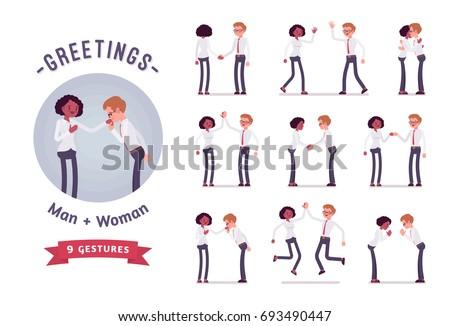 male  female clerks greeting