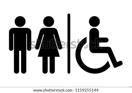 Male / Female / Handicap toilet sign, vector illustration