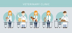 Male & Female Veterinarian Checkup Pet, Cats and Dogs, Vaccination, Clinic