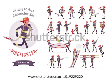 Male firefighter ready-to-use character set. Professional fireman in uniform, fire department rescuer full length, different views, gestures, emotions, front, rear view. Emergency services job concept