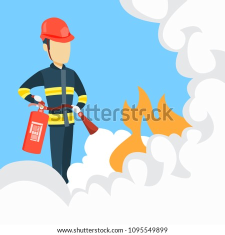 Male firefighter with extinguisher and helmet for protection. Stockfoto ©