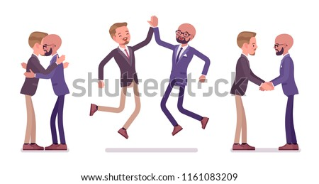 Male friends meeting, greeting. Men giving a hug, high five, customers and colleagues handshake. Business manners, etiquette concept. Vector flat style cartoon illustration isolated, white background