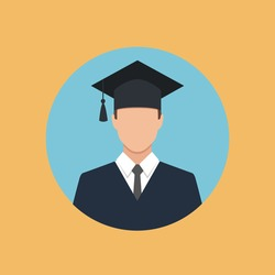 male graduate in gown and graduation cap icon. colorful flat style vector illustration