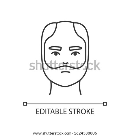 Male hair pixel perfect linear icon. Man with alopecia. Hairloss problem. Baldness spot. Thin line customizable illustration. Contour symbol. Vector isolated outline drawing. Editable stroke