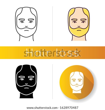 Male hairloss icon. Linear black and RGB color styles. Man with alopecia. Hairloss problem. Baldness. Dermatology and haircare treatment. Thinning hairline. Falling hair. Isolated vector illustrations