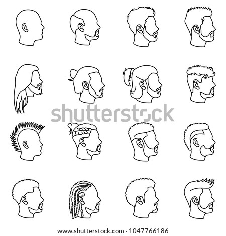 male hairstyles outlines vector