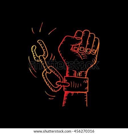 male hand breaking steel
