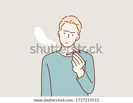 male hand holding a cigarette. serious man with no smoking sign. Hand drawn style vector design illustrations.