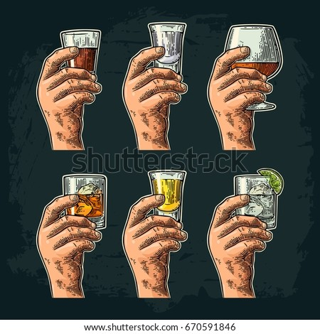 Male hand holding a glass with tequila, vodka, rum, cognac, whiskey, gin. Vintage color vector engraving illustration for label, poster, invitation to party and birthday. Isolated on dark background