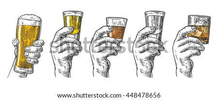 Male hand holding a glasses with beer, tequila, vodka, rum, whiskey and ice cubes. Vintage vector engraving illustration for label, poster, invitation to party and birthday.