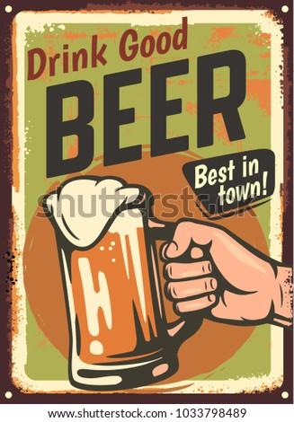 male hand holding beer glass. Vintage design poster. Vector illustration.