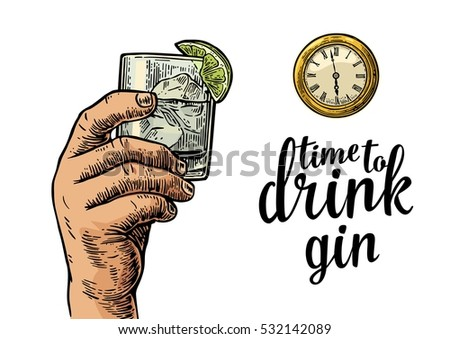 male hand holding glass gin and