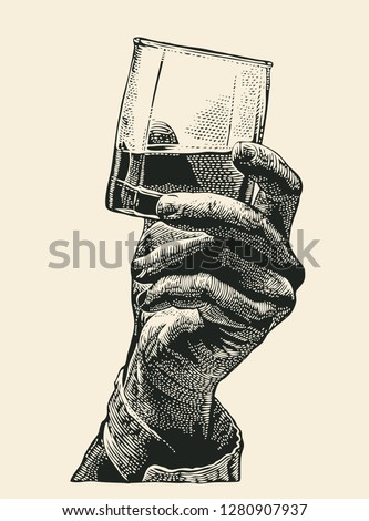 Male hand holding glass whiskey. hand drawn design element. engraving style. vector illustration