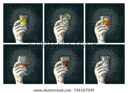Male hand holding glass with brandy, tequila, gin, vodka, rum, whiskey. Vintage vector color and monochrome engraving illustration for poster, invitation to party. Isolated on dark background
