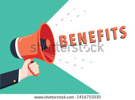 Male hand holding megaphone with benefits speech bubble. Loudspeaker. Banner for business, marketing and advertising. Vector illustration. Vector illustration, big benefits web banner or flyer concept