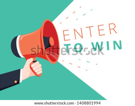 Male hand holding megaphone with enter to win speech bubble. Loudspeaker. Banner for business, marketing and advertising. Vector illustration. Ecommerce advertising banner with enter to win