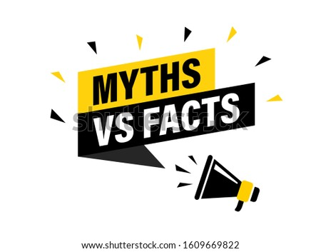 Male hand holding megaphone with Myths vs facts speech bubble. Loudspeaker. Banner for business, marketing and advertising. Vector illustration. Foto stock ©