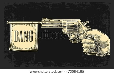 male hand holding revolver with