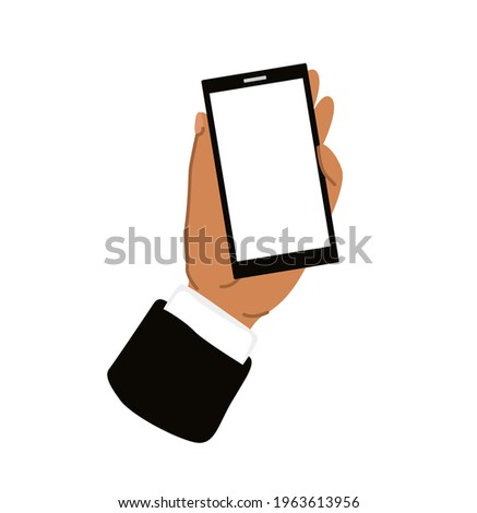 Male hand holding smartphone with empty blank screen. Simple hand-drawn template. Mobile phone in man's hand. Vector illustration stock photo