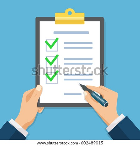 Male hand signing document. Hand filling checklist on clipboard. Form illustration with man signing a paper work document.  Modern flat design concept for web banners, web sites, infographics.