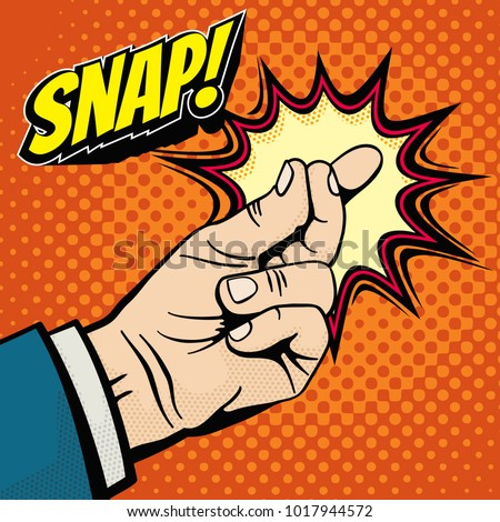 Male hand with snapping finger magic gesture. Its easy vector concept in pop art style. Finger snap gesture, snapping click gesturing expression, vector illustration