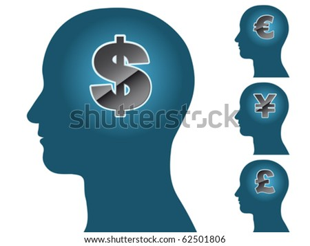 Male head silhouette thinking of money dollar euro yen pound