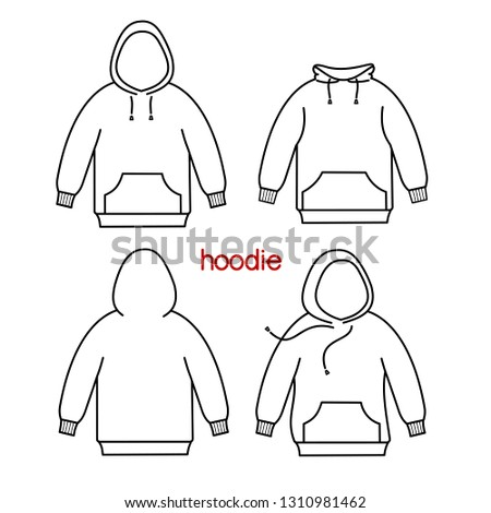 Male hoodie sweatshirt. Vector sweatshirt or sportswear clothing with hood.