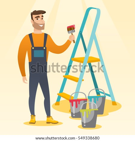 Male house painter holding a paintbrush. House painter with paintbrush in hand standing near step-ladder and paint cans. Concept of house renovation. Vector flat design illustration. Square layout.