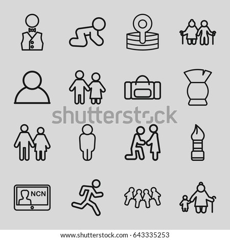 Male icons set. set of 16 male outline icons such as baby crawl, brush, medical reflector, waiter, badge, user, couple, marriage proposal, old woman and child, children