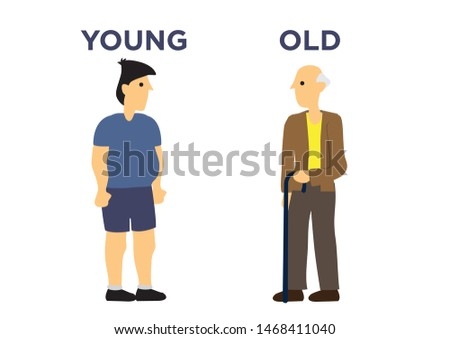 Male in two different ages. Concept of aging. Flat cartoon isolated illustration.