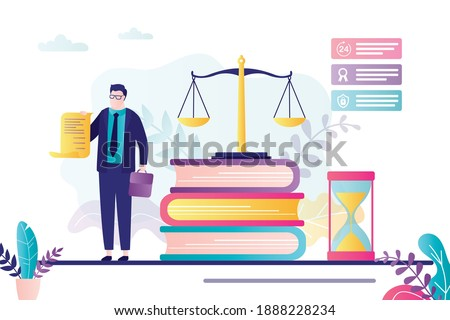 Male lawyer holds license. Advocate signed business agreement. Lawbooks and scales on background. Notary helps people with documents. Elements of law and justice. Trendy flat vector illustration Foto stock ©