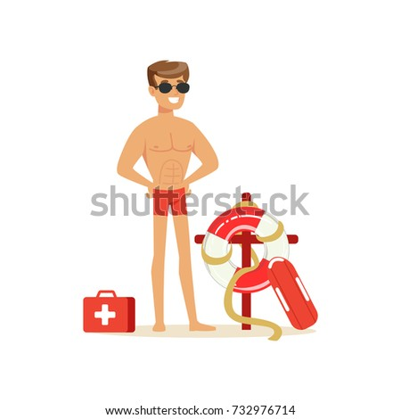 Male lifeguard in red shorts with equipment on the beach, professional rescuer on the beach vector Illustration Сток-фото ©
