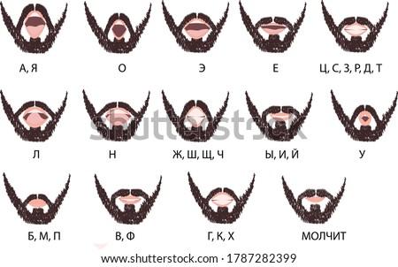 Male lips sync, Russian alphabet, text translation 'A,Ja,O,E,Ye,Ts,S,Z,R,D,T,L,N,Zh,Sh,Sch,Ch,Y,I,j,U,B,M,P,V,F,H,K,Kh,Silent'. Stock foto ©