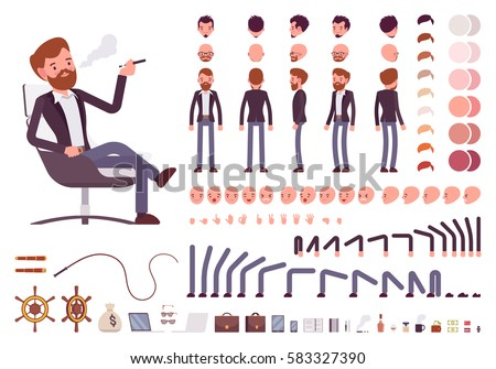 Male manager character creation set. Full length, different views, emotions, gestures, isolated against white background. Build your own design. Cartoon flat-style infographic illustration