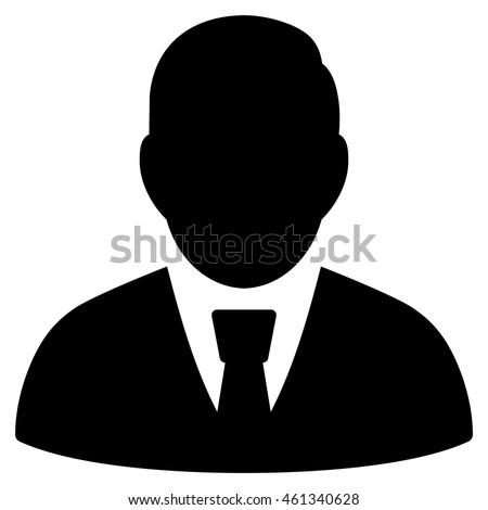 Male Manager icon. Vector style is flat iconic symbol with rounded angles, black color, white background.