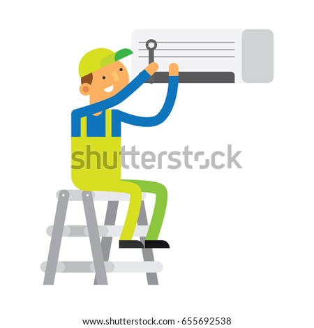 Male mechanic repairing an AC (Air Conditioner) cartoon character illustration