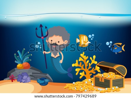 male mermaid with trident and