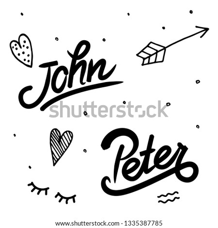 male name John, Peter: template of  invitation and greeting cards, envelopes, t-shirts, stickers. Vector composition with lettering and hand drawn elements. Polka dots, hearts, arrows. Isolated vector #1335387785