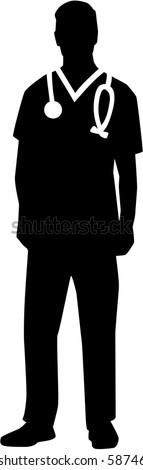 Male nurse silhouette