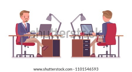Male office secretary. Smart man wearing jacket and skinny trousers, assisting in task, busy with computer work. Business workwear and city fashion. Vector flat style cartoon illustration, front, rear