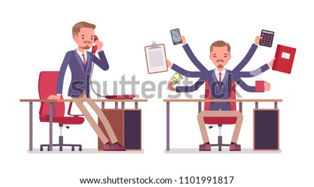 Male office secretary. Smart man wearing jacket, skinny trousers, assisting in work, performs multiple tasks, talking on phone. Business workwear, city fashion. Vector flat style cartoon illustration
