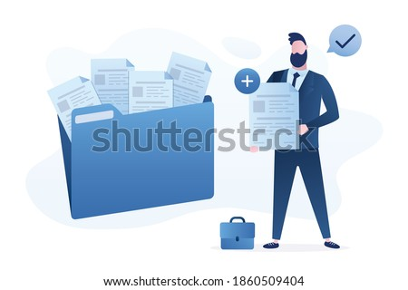 Male office worker adds file to big folder. Storage and indexing of information. Businessman holds paper document. User and data archive. Database, searching info. Trendy flat vector illustration