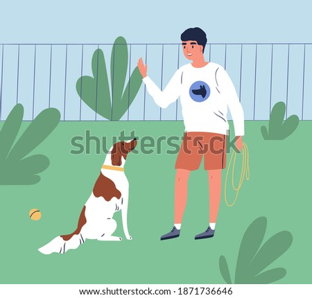 Male owner training his dog to command sit. Trainer teach obedient purebred spaniel in park. Cheerful man or cynologist with puppy on the playground. Flat vector cartoon illustration of trained pet Сток-фото ©